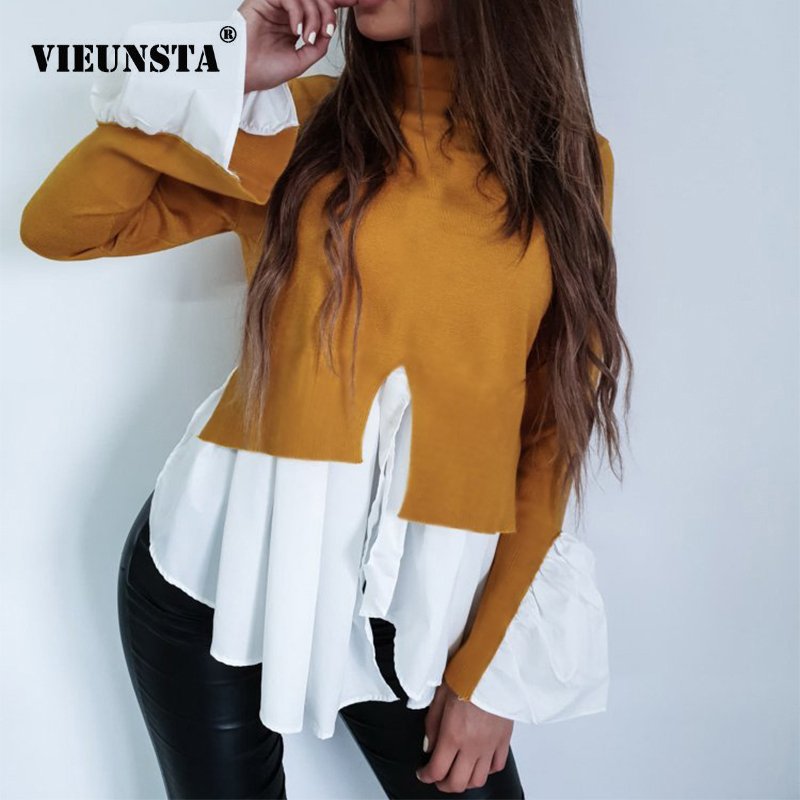 VIEUNSTA Autumn Turtleneck Flare Sleeve Irregular Pullover Female Ruffles Split Patchwork   Blouse     Shirts   Kawaii Women Tops Jumper