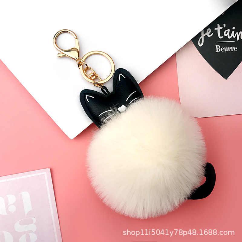 Chaveiro de bola de gato bonito da pele de pompom na bolsa bonito fofo do falso pompom pingente acessórios c036