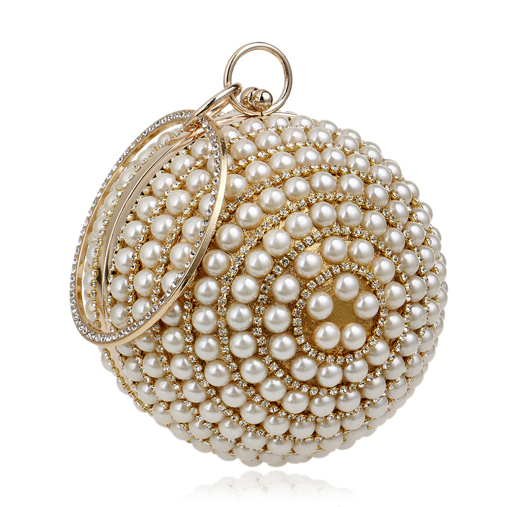 Fashion Women Pearl Bags Beaded Diamonds Lady Handbags Roud Handle Totes Band Designer Evening Bag Banquet Clutch Bag Sphere