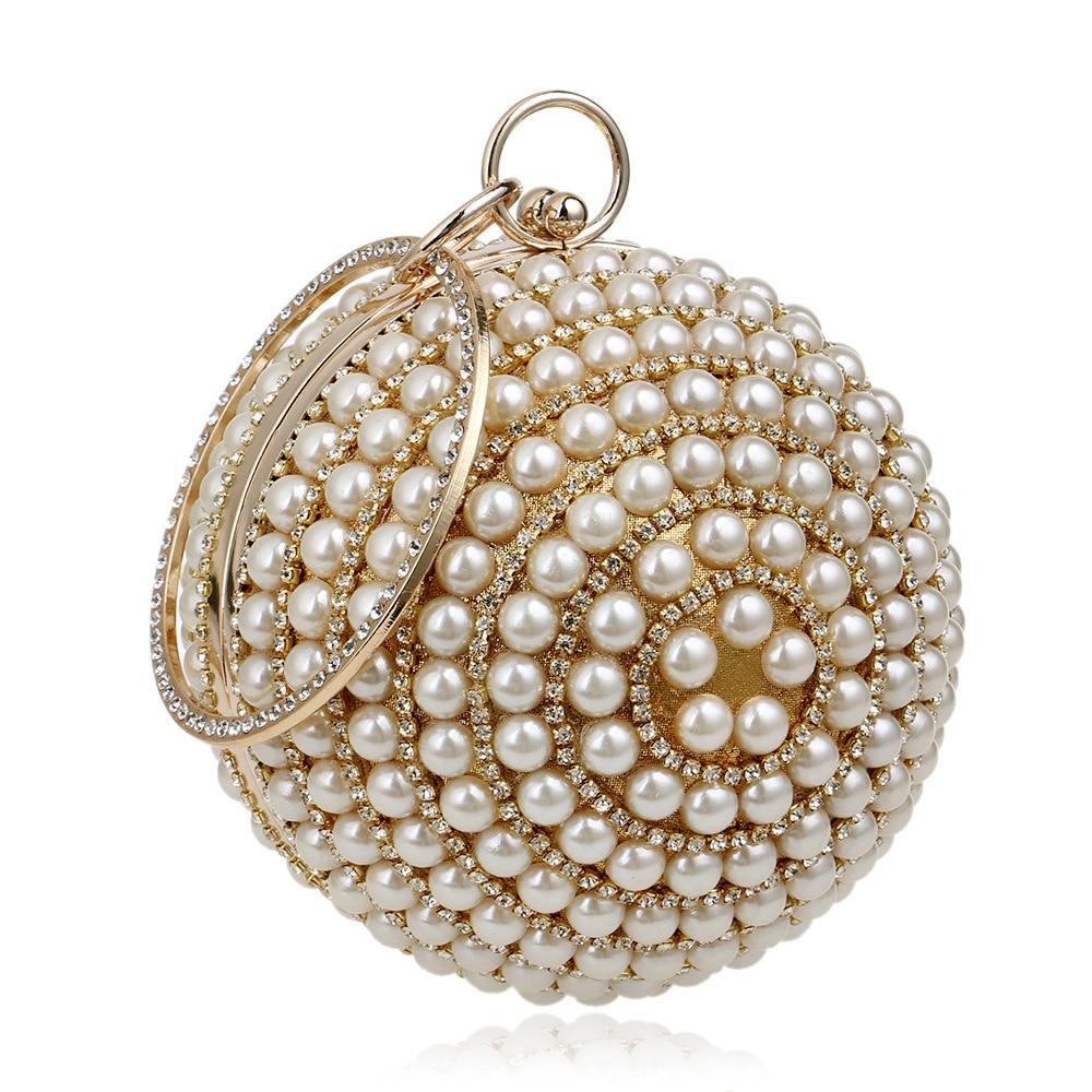 Fashion Women Pearl Bags Beaded Diamonds Lady Handbags Roud Handle Totes Band Designer Evening Bag Banquet Clutch Bag Sphere