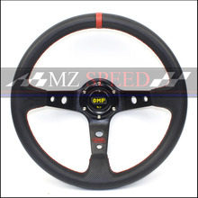 Car accessories New 14 (350mm) OMP Racing Steering Wheel PVC Red line