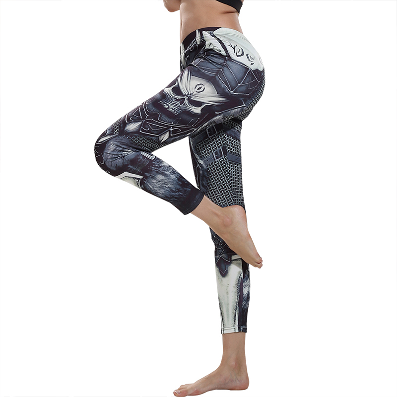 ZOGAA Brand 2019 Skull Leggings Women Skeleton Ladies Black 3d Armor Print Metal Trousers Gothic Elastic Womens Leggings Pants