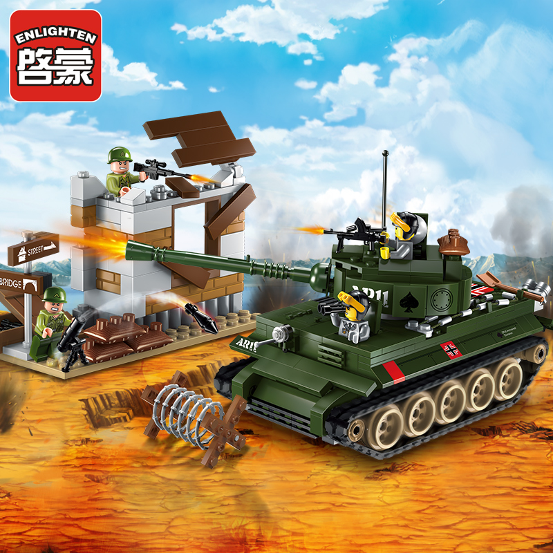 ENLIGHTEN World War 2 Military Tiger Tank The Battle 4Pcs dolls Model Building Blocks Figure Toys For Children Compatible Legoe 16018 lepin lord of the rings the ghost pirate ship model building blocks enlighten figure toys for children compatible legoe