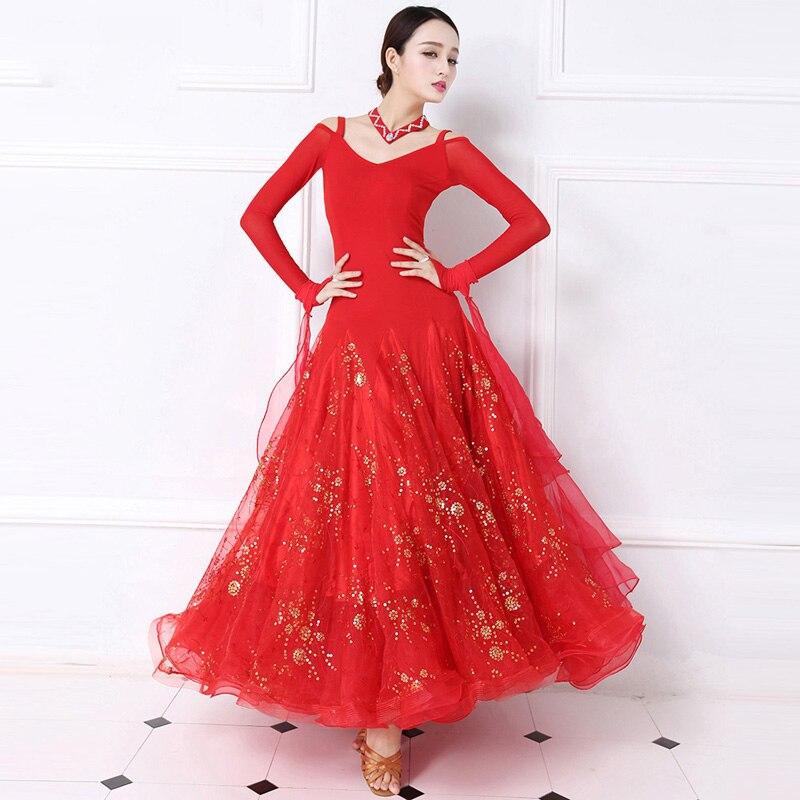 Standardní společenské taneční šaty Ženy Tango Flamenco Waltz Taneční sukně Dámská s dlouhým rukávem Červená Taneční soutěž Šaty