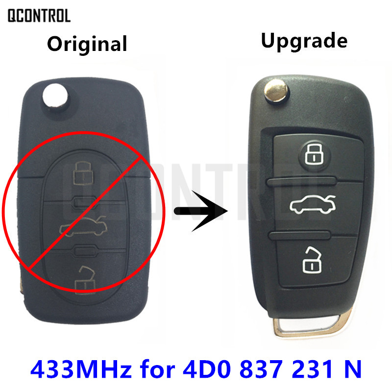 QCONTROL Funkschlüssel für AUDI 4D0837231N für A3 A4 A6 A8 RS4 TT Allroad Quttro RS4 Auto Control 433,92 MHz ID48 4D0 837 231 N