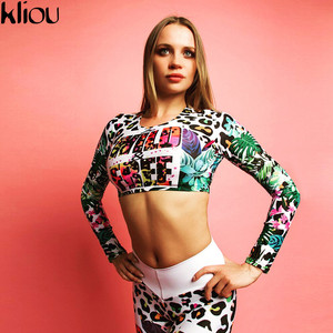 Image 3 - Fitness Tracksuit Digital Printed Letters Workout Women Two Pieces Sets Female Sporting Full Sleeve Crop Top Leggings