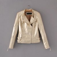 2017 New Fashion Autumn Winter Women Brand Faux Soft Leather Jackets Pu Pink gold gray Zippers Long Sleeve Motorcycle Coat