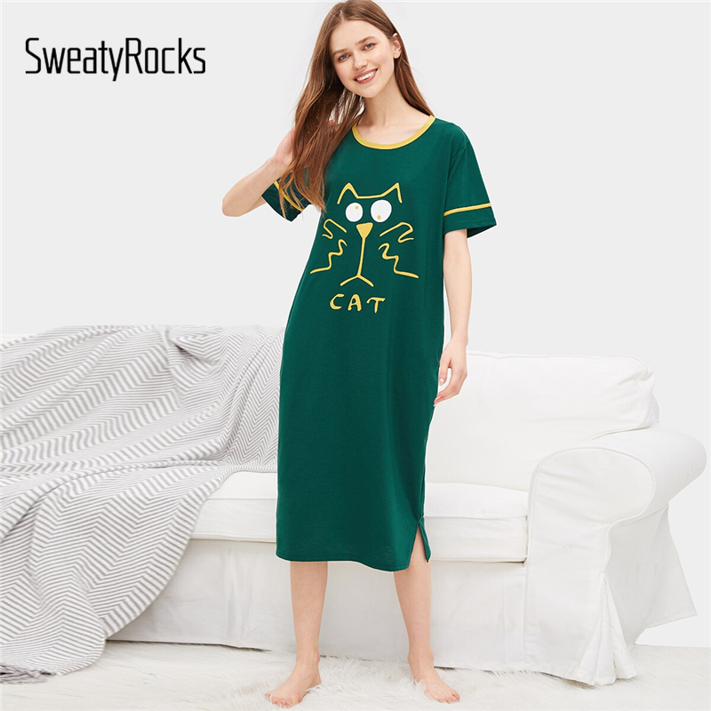 SweatyRocks Green Cat Print Night Dress Summer Women 2019 Casual Loose   Nightgown   Short Sleeve   Sleepshirts