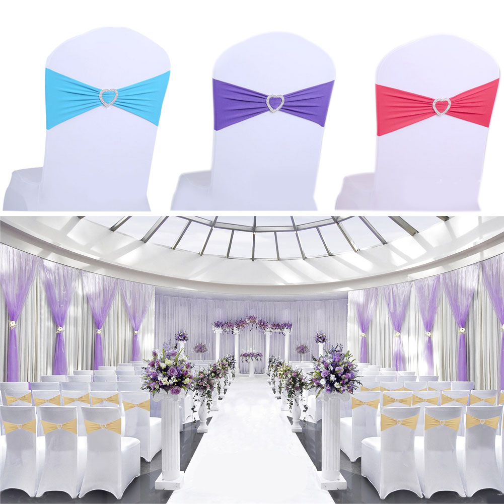 10Pcs Spandex 15*35cm New Wedding Chair Cover Sashes Bow Sash Banquet Party Event Xmas Decorno Need Tied Banquet Chair Sashes