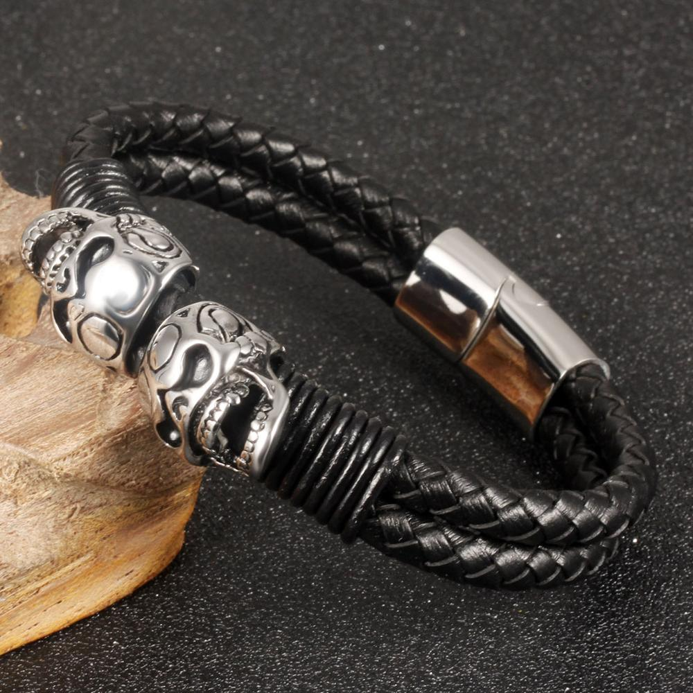 New Leather Bracelet Men Luxury Double Layer Braided Rope Wrap Skull Bracelet For Men Clasp Wristband Handmade Jewelry Gift in Cuff Bracelets from Jewelry Accessories