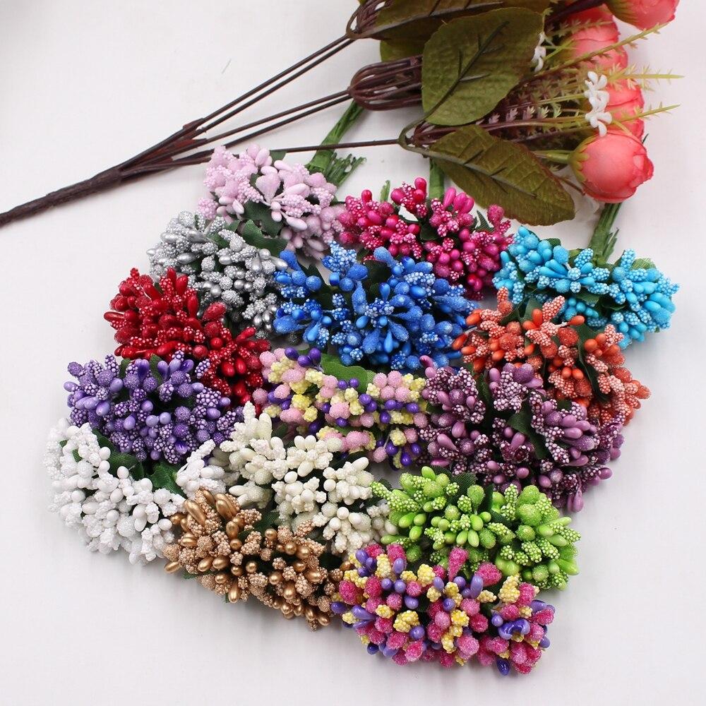 144 pçs mini pérola berry artificial estame flor para o casamento decoração de casa pistil diy grinalda scrapbooking artesanato flores falsas