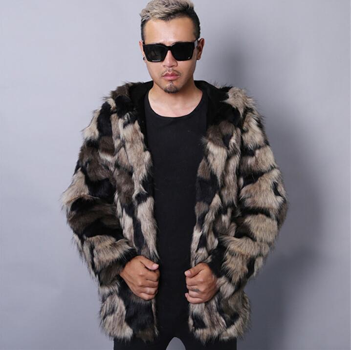 Maskë e ngrohtë faux lepuri lepuri mantel xhaketë lëkure burra - Veshje për meshkuj - Foto 3