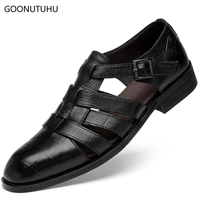 2018 new men's sandals summer fashion men shoes genuine leather - Men's Shoes - Photo 1