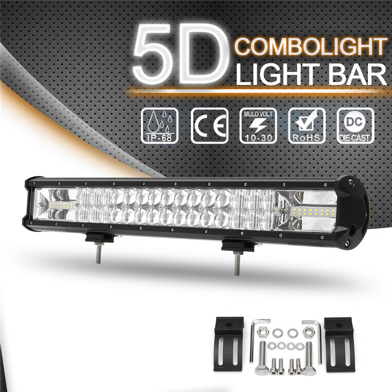 22inch 10V -30V 5D LED Light Bar Car Roof Combo Work Light 3030SMD LED IP68 Waterproof Automobile spot Light waterproof 72w 4300lm 6000k 24 led white light car work project diy light bar dc 10 30v