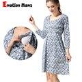 Emotion Moms весеннее Платье для кормящих мам Одежда для кормящих матерей платья для беременных женщин Одежда для беременных