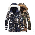 Camouflage new winter long section of thick fur collar cotton coat quilted jacket lightweight jacket cotton wadded coat park men