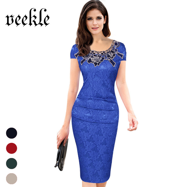 Elegant Dresses Floral Print Women Vintage Office Dress Work Blue Slim Sexy Beautiful Embroidery Lace Neck High Quality 5 Colors