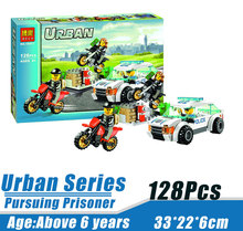 Bela 10417 Urban City Police Motorcycle Pursuit of prisoners Minifigures Building Block Minifigure Toys Compatible with Legoe