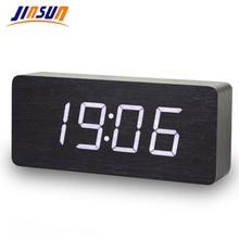 Jinsun digital relógios led de madeira despertador quadrado moderno colorido com temperatura controle voz desktop sensor
