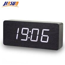 Jinsunデジタル時計led木製despertador現代広場カラフルなアラーム時計温度音声制御デスクトップセンサー