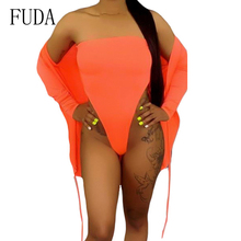FUDA Fashion Sexy Two-pieces Bodysuit Summer Hollow Out Bodycon Bandage Overalls for Women Elegant Beach Casual Playsuits