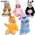 2016 de Inverno Bonito Do Bebê Rompers animais Ponto Quente Gato Coelho Panda Flanela Roupas de Bebê meninos Meninas Roupas de Bebê Dos Desenhos Animados Macacão