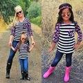 Новое Семейство Clothing Мать Дочь Топы Женщины Дети Девушки Цветочные Полосатый Футболки Соответствие Техники Одежда