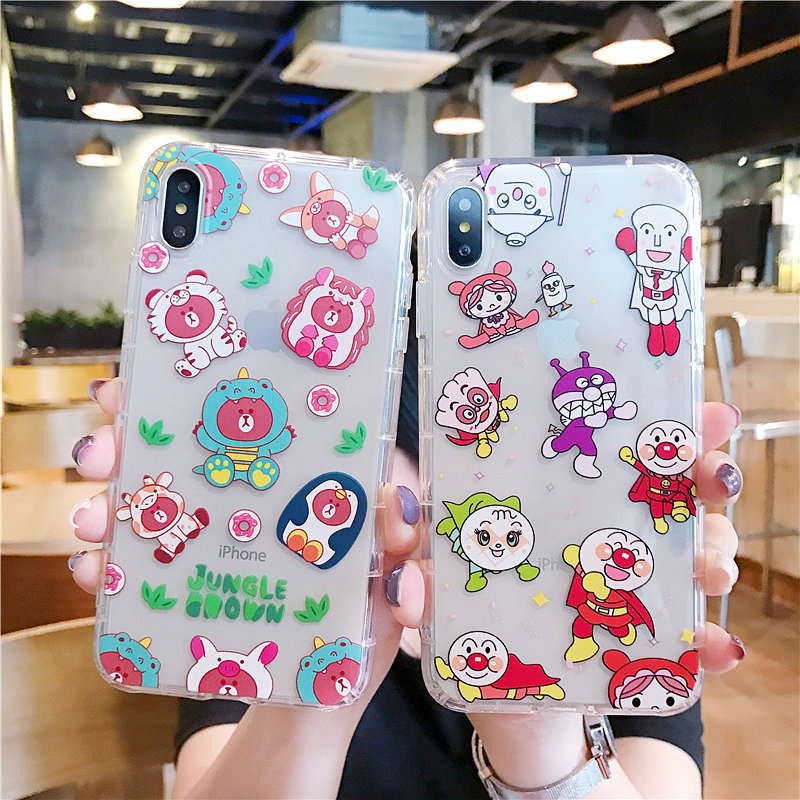 For iphone xs max cover for iphone 7 plus case for iphone 8 cover cartoon Transparent case for iphone 6 6s 7 8 plus XS XR coque