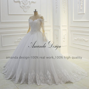 Image 2 - Amanda Design Off Shoulder Long Sleeve Lace Applique Pearls Ball Gown Wedding Dress
