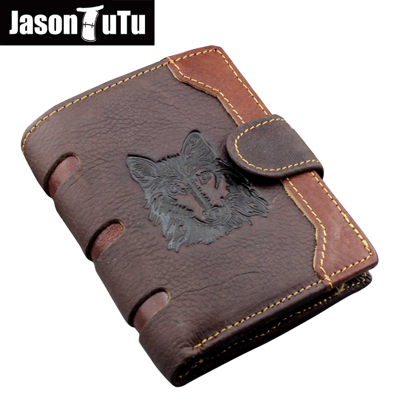 Genuine Leather Wallet Wolf Totem Men Wallets Luxury Dollar Price Vintage Real Cow Leather Male Purse Coin Bag Promotions HN355