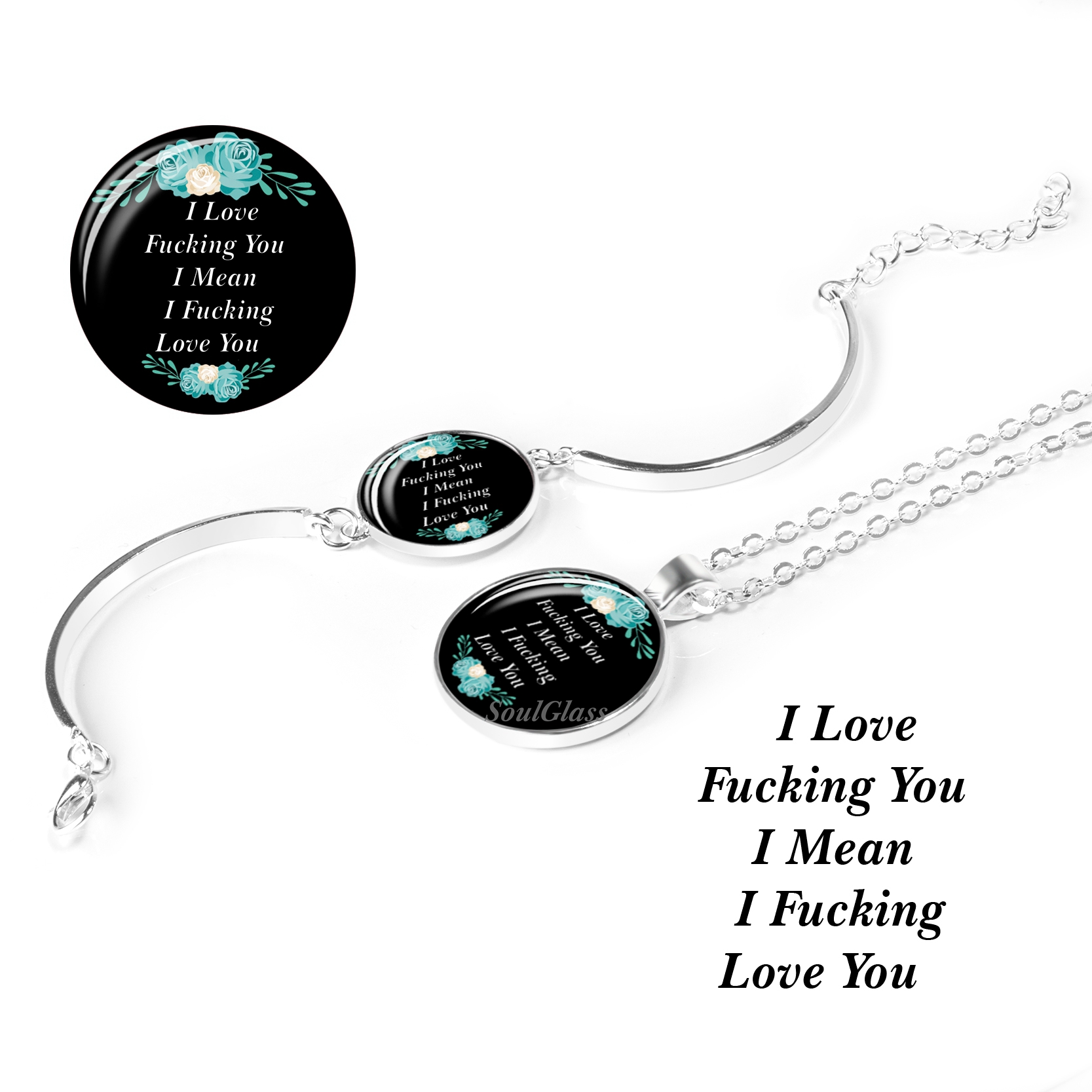 1 Set I Love You Fashion Charm Letter Quote Jewelry Set(2pcs) Necklace and Bracelet Dorpshipping(China)