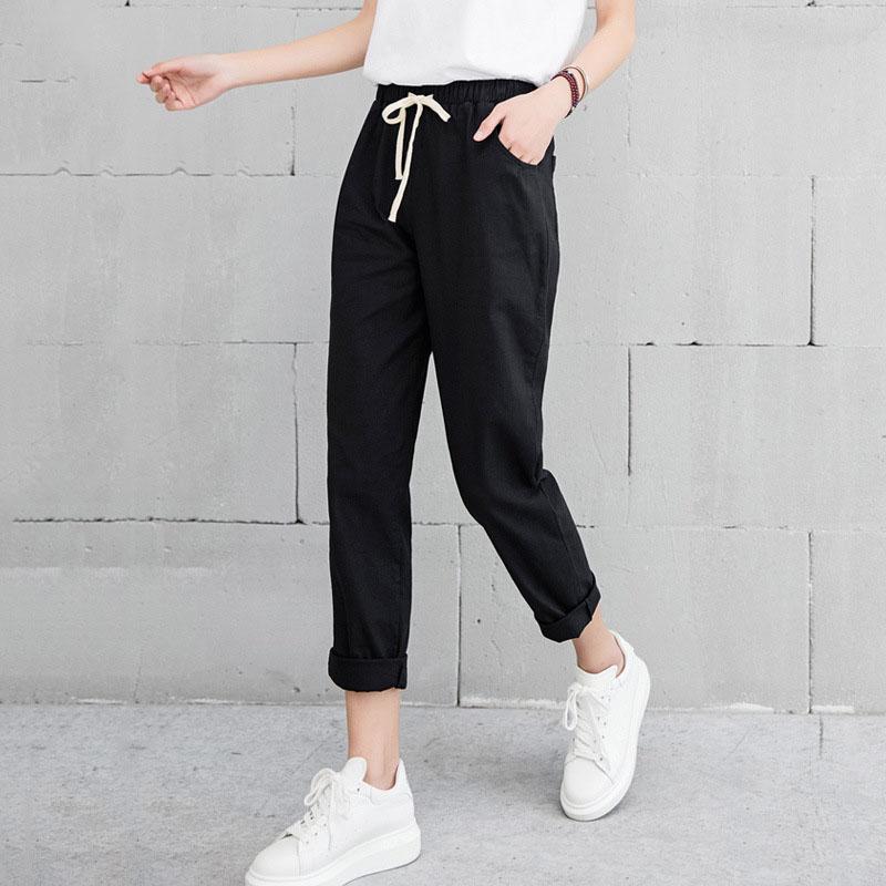 New Women Casual Harajuku Spring Autumn Big Size Long Trousers Solid Elastic Waist Cotton Linen Pants