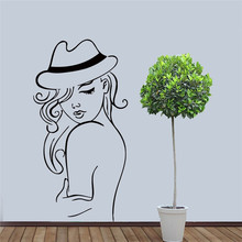 Free shipping Sexy woman with hat Beautiful Art Salon barber shop decorative wall stickers  poster girl mural