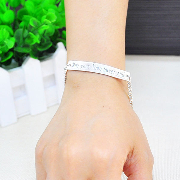 Whole Words Quote Engraved Bracelet 925 Sterling Silver Personalized Men Jewelry Homens Pulseira In Charm Bracelets From Accessories On