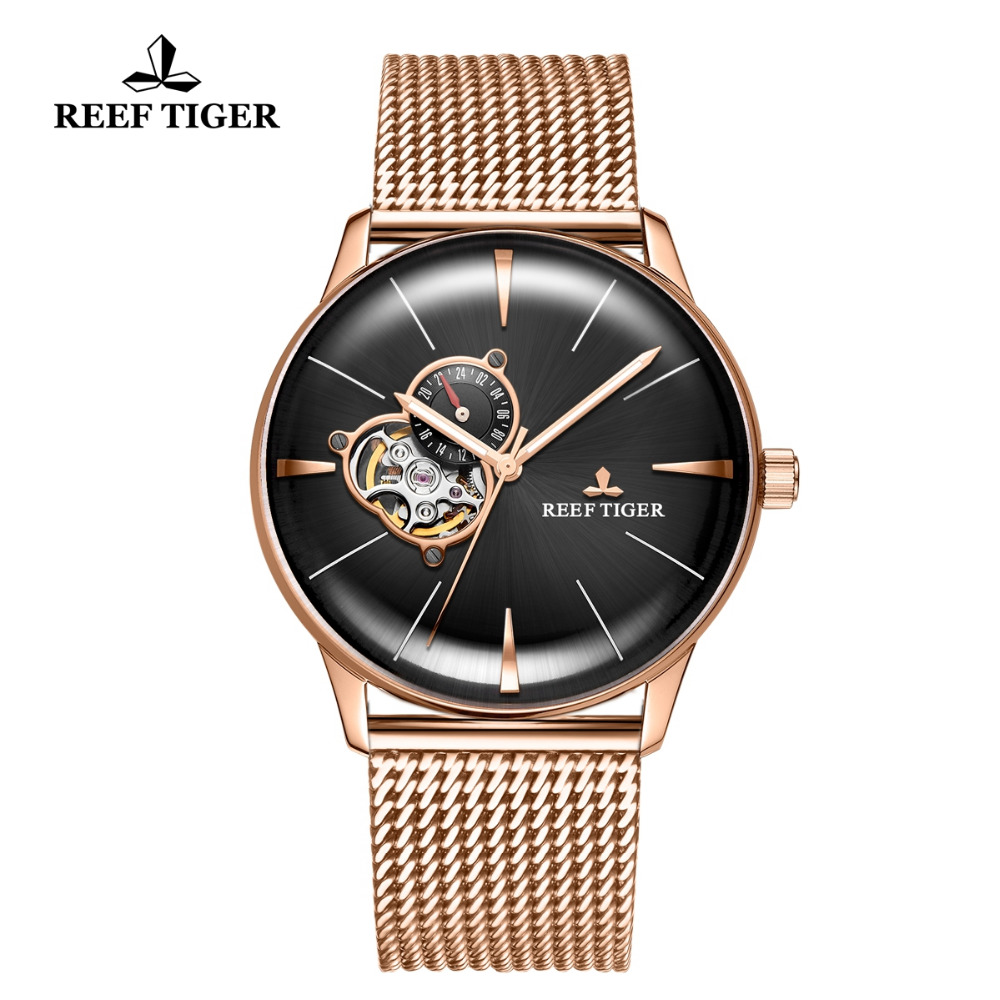 Reef Tiger/RT Top Brand Luxury Watch for Men Sapphire Crystral Tourbillon Watch Rose Gold Automatic Mechanical Watches RGA8239Reef Tiger/RT Top Brand Luxury Watch for Men Sapphire Crystral Tourbillon Watch Rose Gold Automatic Mechanical Watches RGA8239