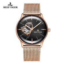 Reef Tiger RT Top Brand Luxury Watch for Men Sapphire Crystral Tourbillon Watch Rose Gold Automatic