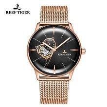 Arrecife de Tigre/RT superior de la marca de lujo de reloj para hombres zafiro Crystral Tourbillon reloj de oro rosa relojes mecánicos automáticos RGA8239