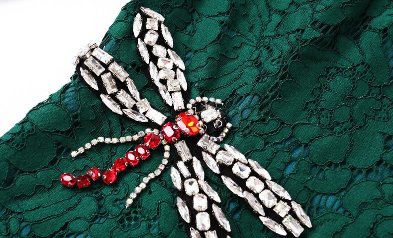 Dress Nouveau Robes De Toast Femmes Vestidos Printemps Noir vert Haut Plus Hanche Gamme 2017 Dentelle La Taille Libellule Perles Party Femme Paquet TqdE0wnx