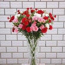Fiori artificiali a buon mercato per la casa natale decorazione di cerimonia nuziale accessori fai da te regalo di Giorno della Madre falso di plastica fiori di seta garofano