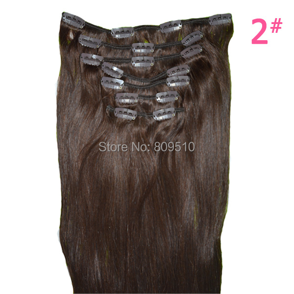 Free Shipping Natural Hair Extension 115g 8 Pieces/ Set Straight Clip in Hair Extensions, 26 Dark Brown, Blonde Clip on free shipping mono top dark brown