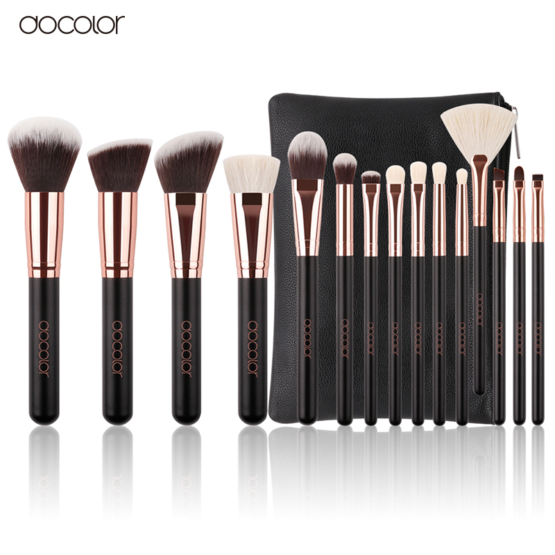 Docolor 15pcs Makeup brush set High Quality Soft Synthetic Hair and Nature BristlesProfessional Makeup Artist Brush Tool Kit stainless steel watch band 18mm 20mm 22mm for rolex curved end strap butterfly buckle belt wrist bracelet black gold silver