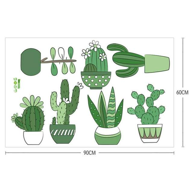 Online shop cartoon green plants wall sticker bedside cactus decals living room bedroom decorations kids room potted plant wall mural 3 aliexpress mobile