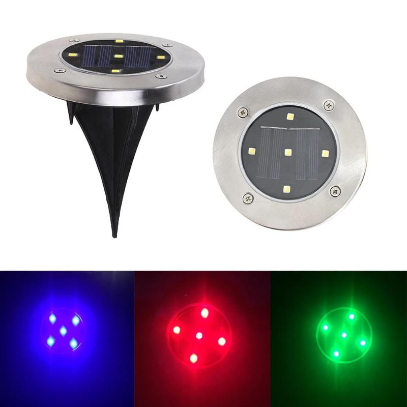 5 LED Solar Light Waterproof Sunlight Red Green Blue Lighting Floor Outdoor Ground Garden LED Lamp