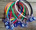 New Mixed Color Leather Cords Luck Bracelet With Silver Kabbalah Hamsa Hand Of Fatima Turkish Blue Evil Eye Charms 30pcs/lot