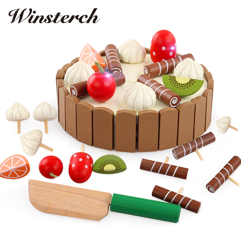 13.5cm Kids Birthday Cake Wooden Magnetic Cake Kitchen Early Educational Toys Baby Play Games Toys Brinquedos de montar ZS088 kitchen simulation toys for children cake decorating wooden toys afternoon tea set birthday cake baby toysgift