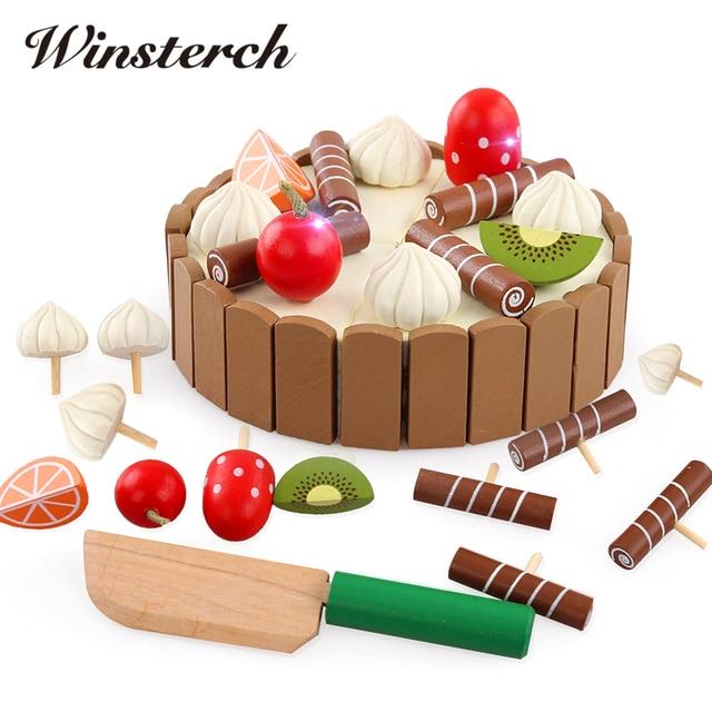 Kinder Spielzeug Geburtstag Kuchen Holz Magnetischen Kuchen Küche Frühen  Lernspielzeug Baby Spiele Spielen Spielzeug Brinquedos De