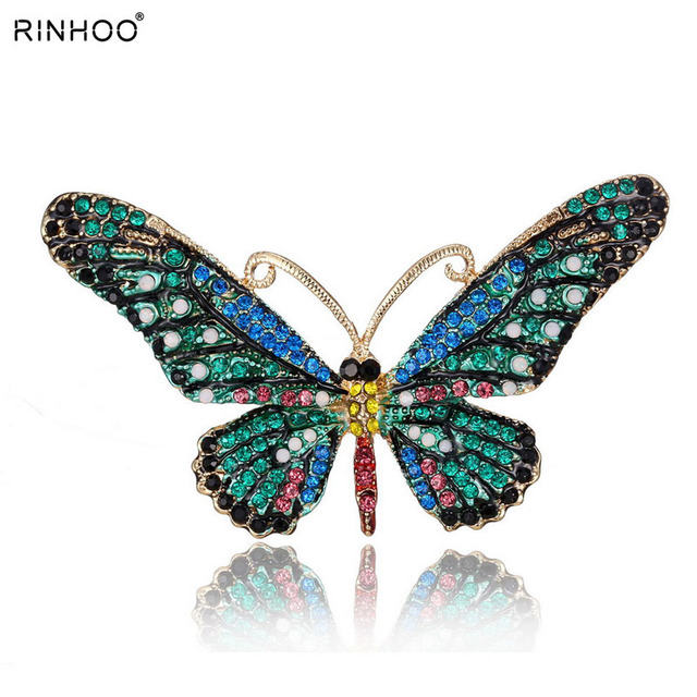 Colorful Cute Butterfly Brooch Mix Color Crystal Rhinestone Brooches for Women L