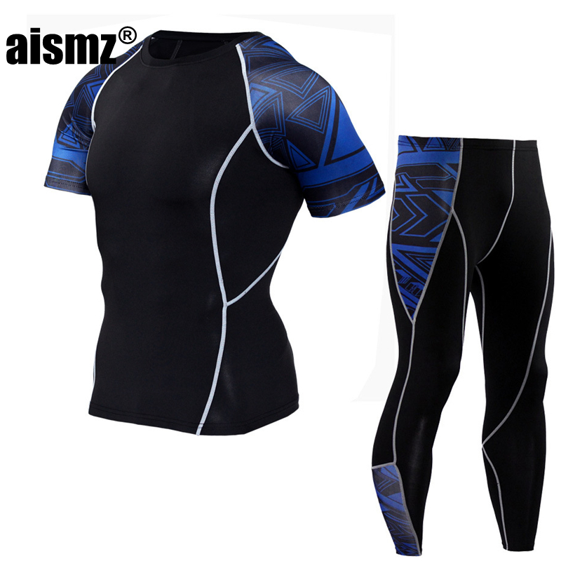 Aismz Short Sleeve Compression Tight Shirt &Leggings Sporting Suit For Men 2-piece Rashguard Tracksuits set Fitness clothing