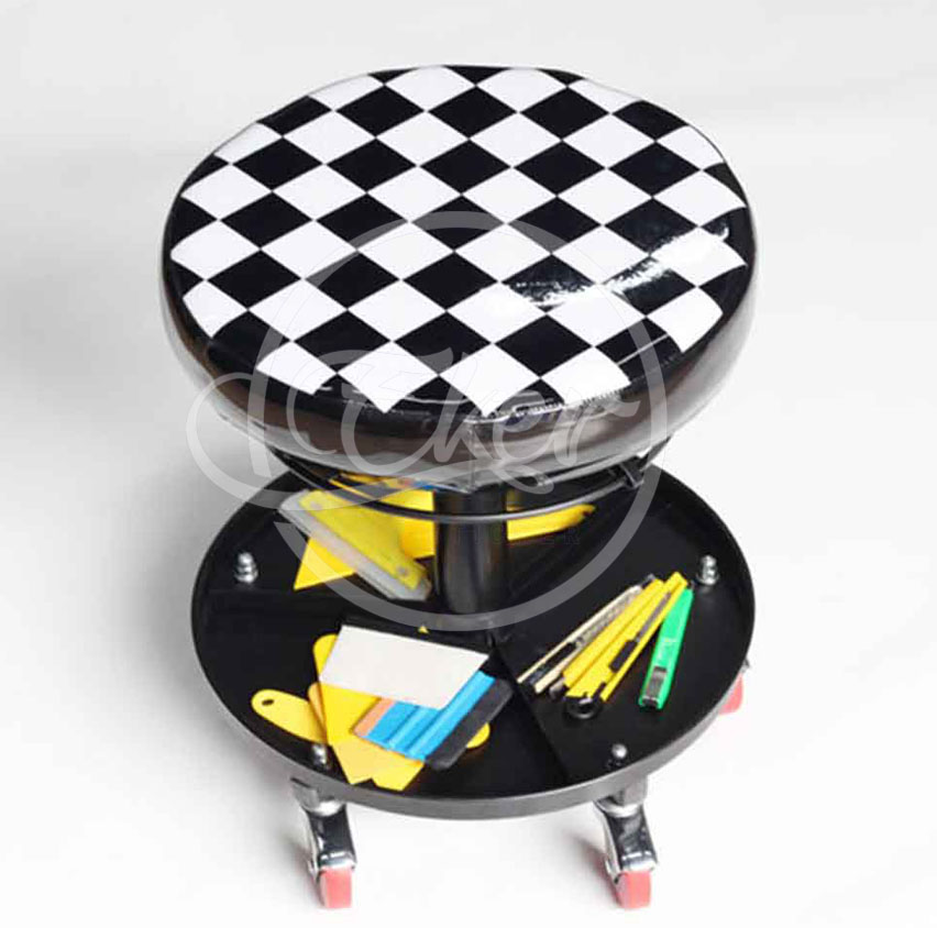 Free Shipping Car Wrap Apllication Seat Adjustable Base Car Repair Chair With Wheels Car Wrapping Tools Collect Storage Chair