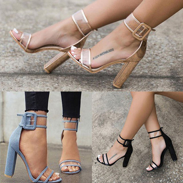 Newest Women Pumps Shoes Sexy Clear Transparent Strappy Buckle Sandals High Heels Shoes Party Shoes Women TR912509